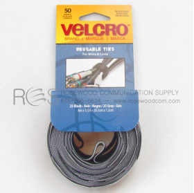 "50 VELCRO CABLE TIES:  25 BLACK 25 GRAY 8"" X 1/2"""